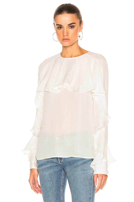 121d9da419ce89 Image 1 of Veronica Beard Mia Ruffle Blouse Top in Off White