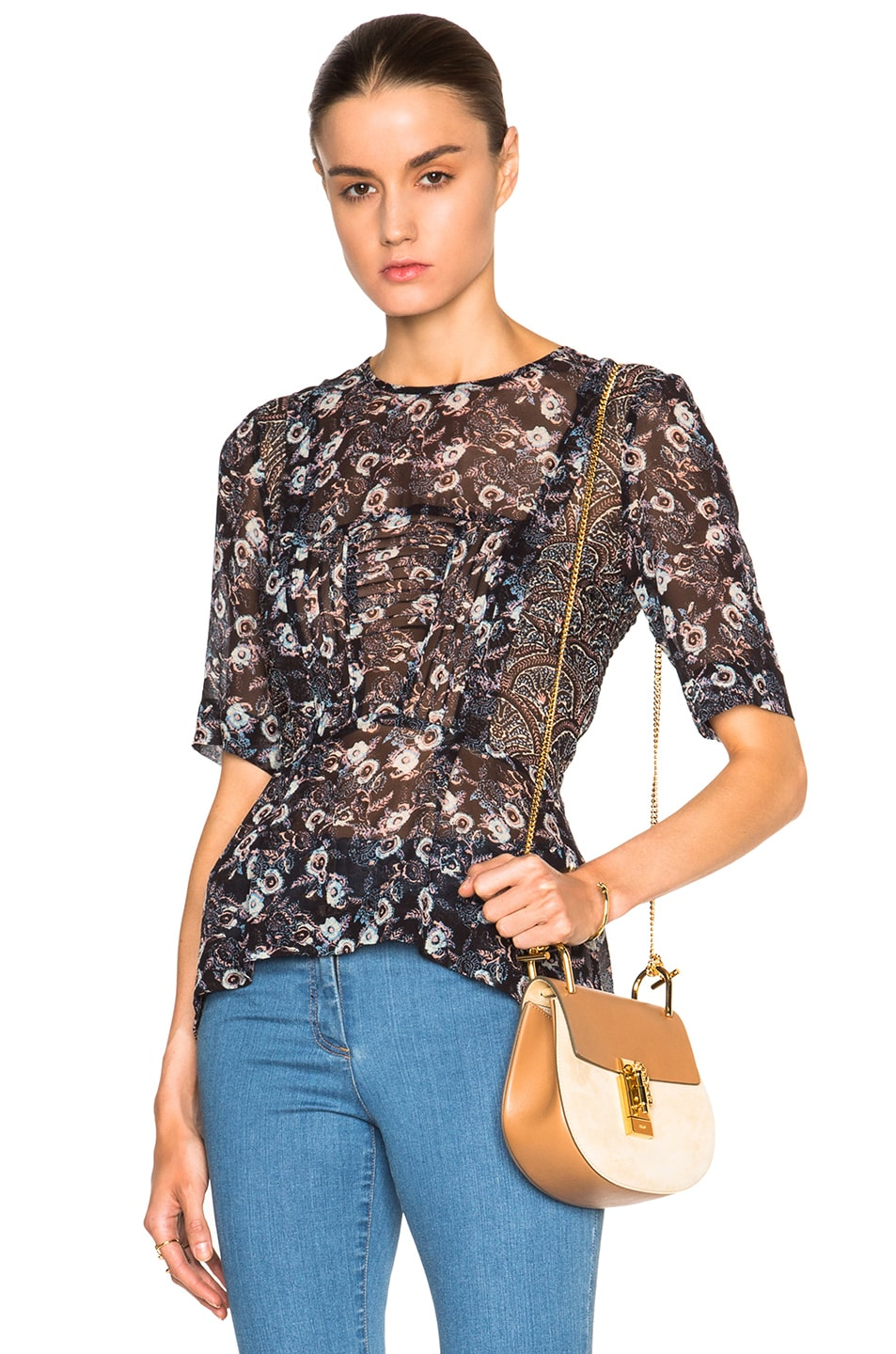 Image 1 of Veronica Beard Papyrus Pintuck Chiffon Peplum Top in Black Floral