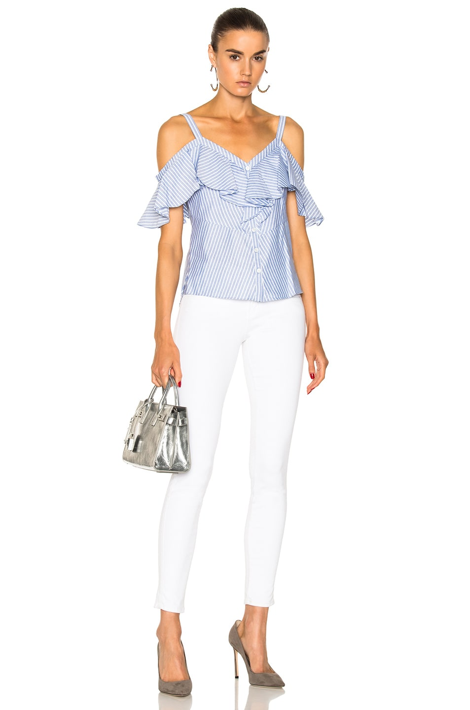 4ae4f048b34c0f Image 4 of Veronica Beard Grant Off the Shoulder Ruffle Shirt in Blue    White
