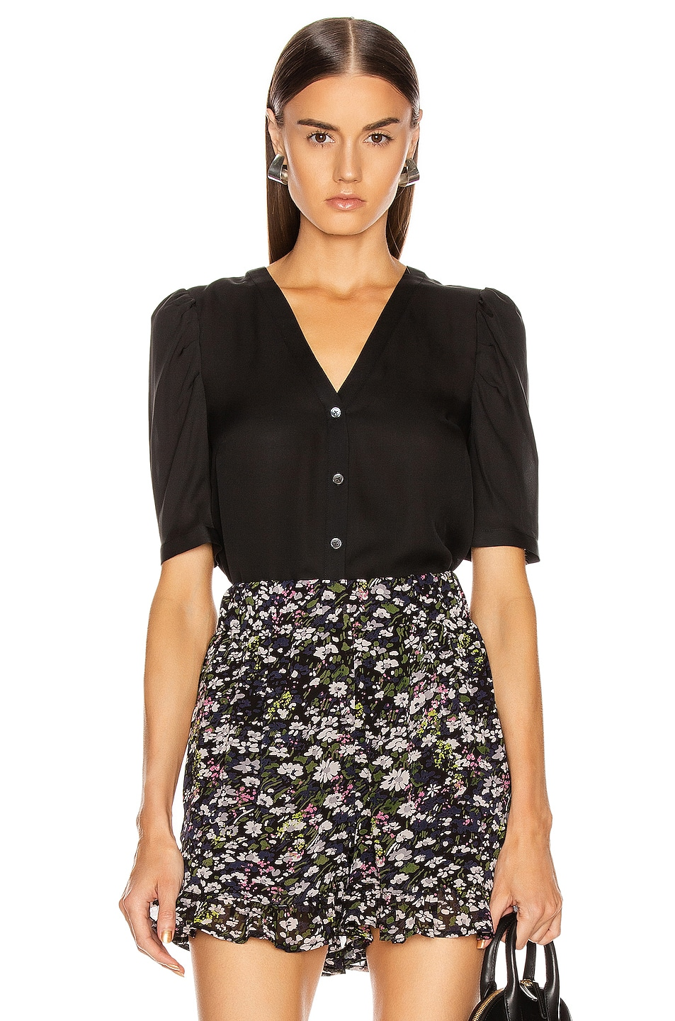 Image 1 of Veronica Beard Garland Blouse in Black