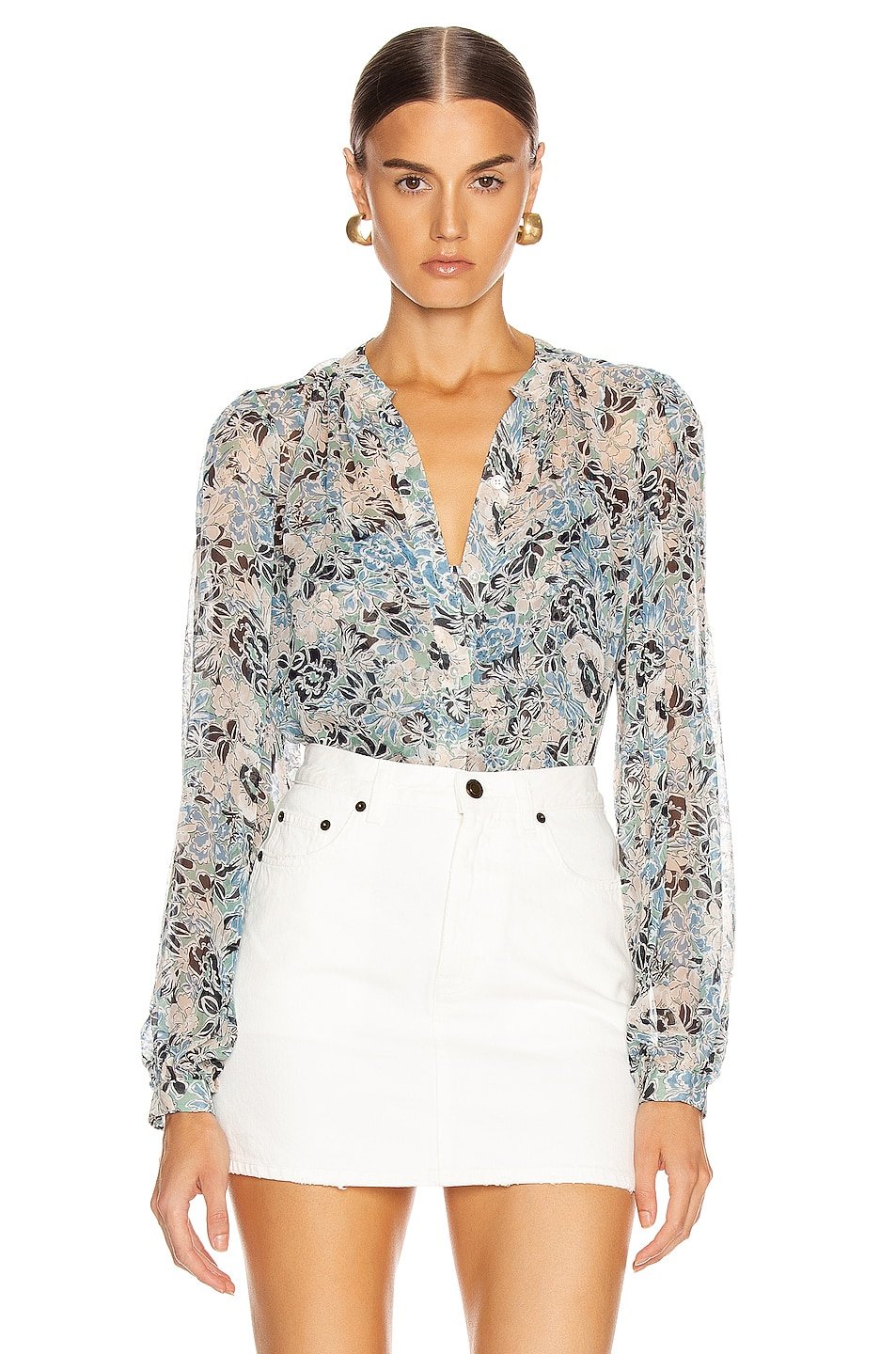 Image 1 of Veronica Beard Ashlynn Blouse in Blue Multi