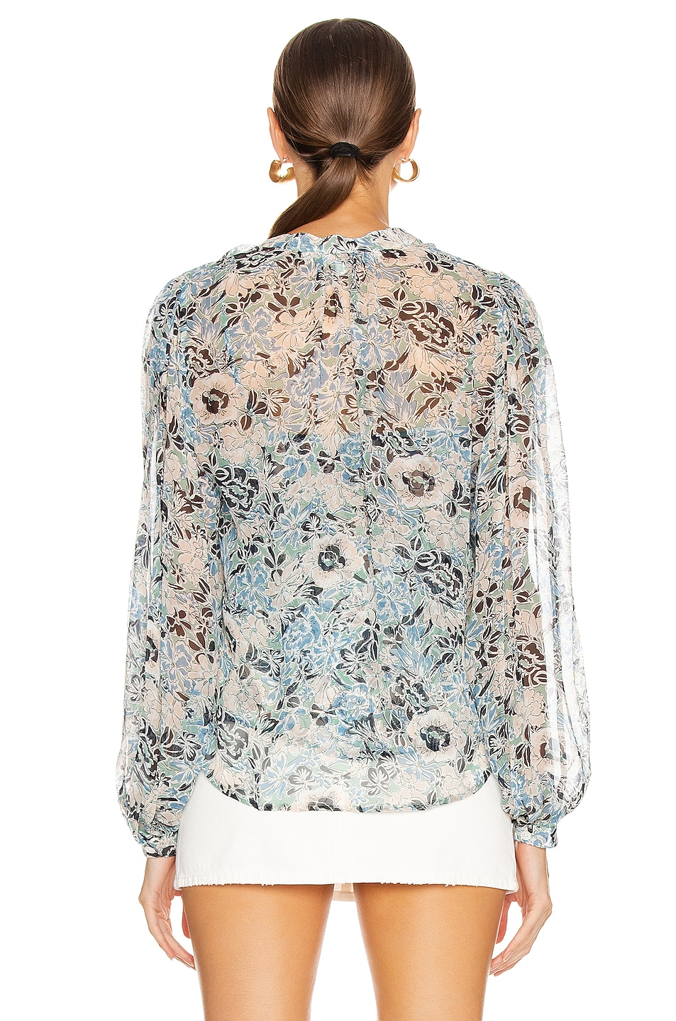 Image 3 of Veronica Beard Ashlynn Blouse in Blue Multi