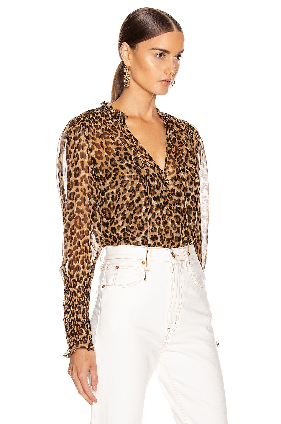 Image 2 of Veronica Beard Jaz Top in Leopard