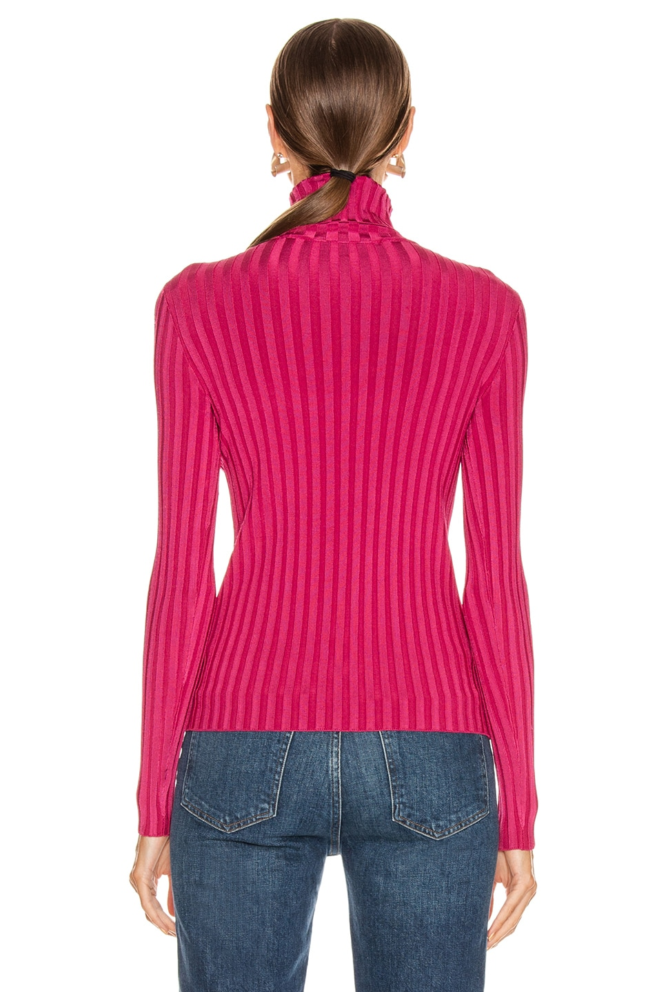 Image 3 of Veronica Beard Nellie Turtleneck Pullover Top in Berry Berry