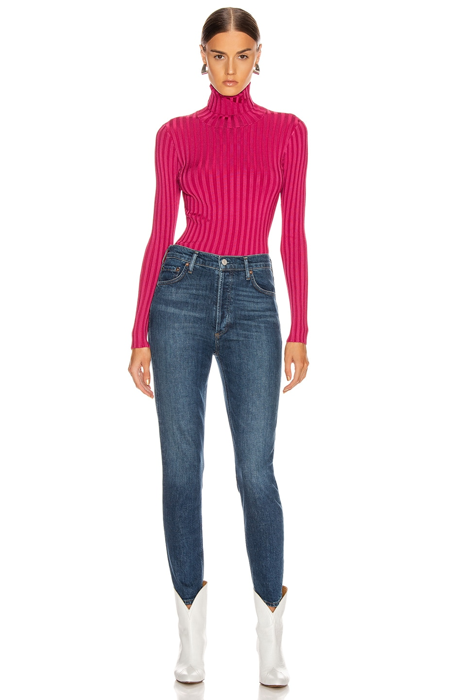 Image 4 of Veronica Beard Nellie Turtleneck Pullover Top in Berry Berry