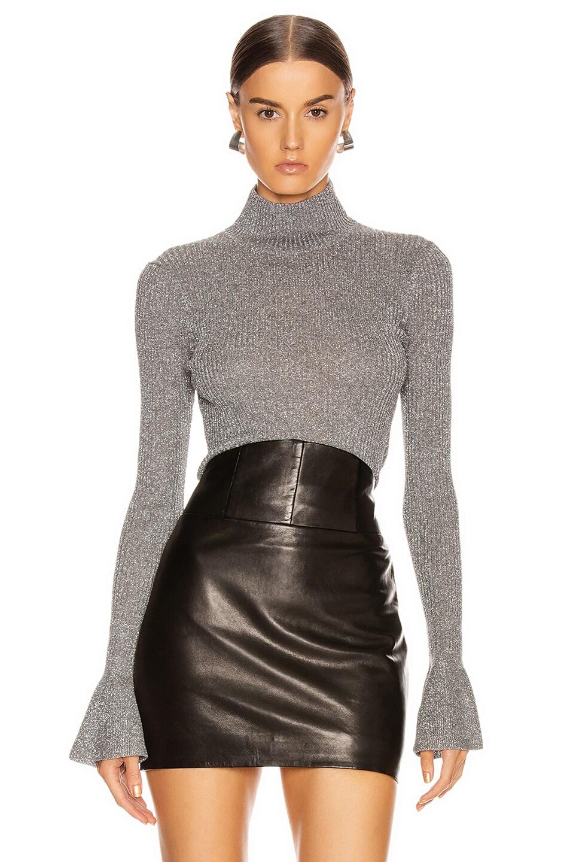 Image 1 of Veronica Beard Lilia Turtleneck Top in Grey