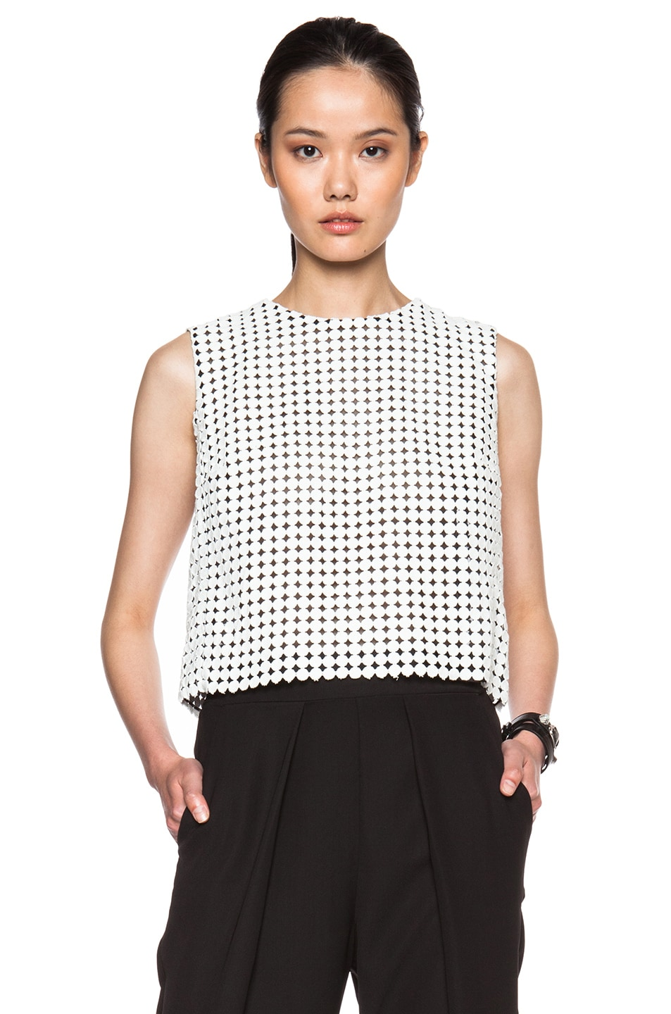 Image 1 of Victoria Beckham Denim Fitted Crop Top in White Orb Lace