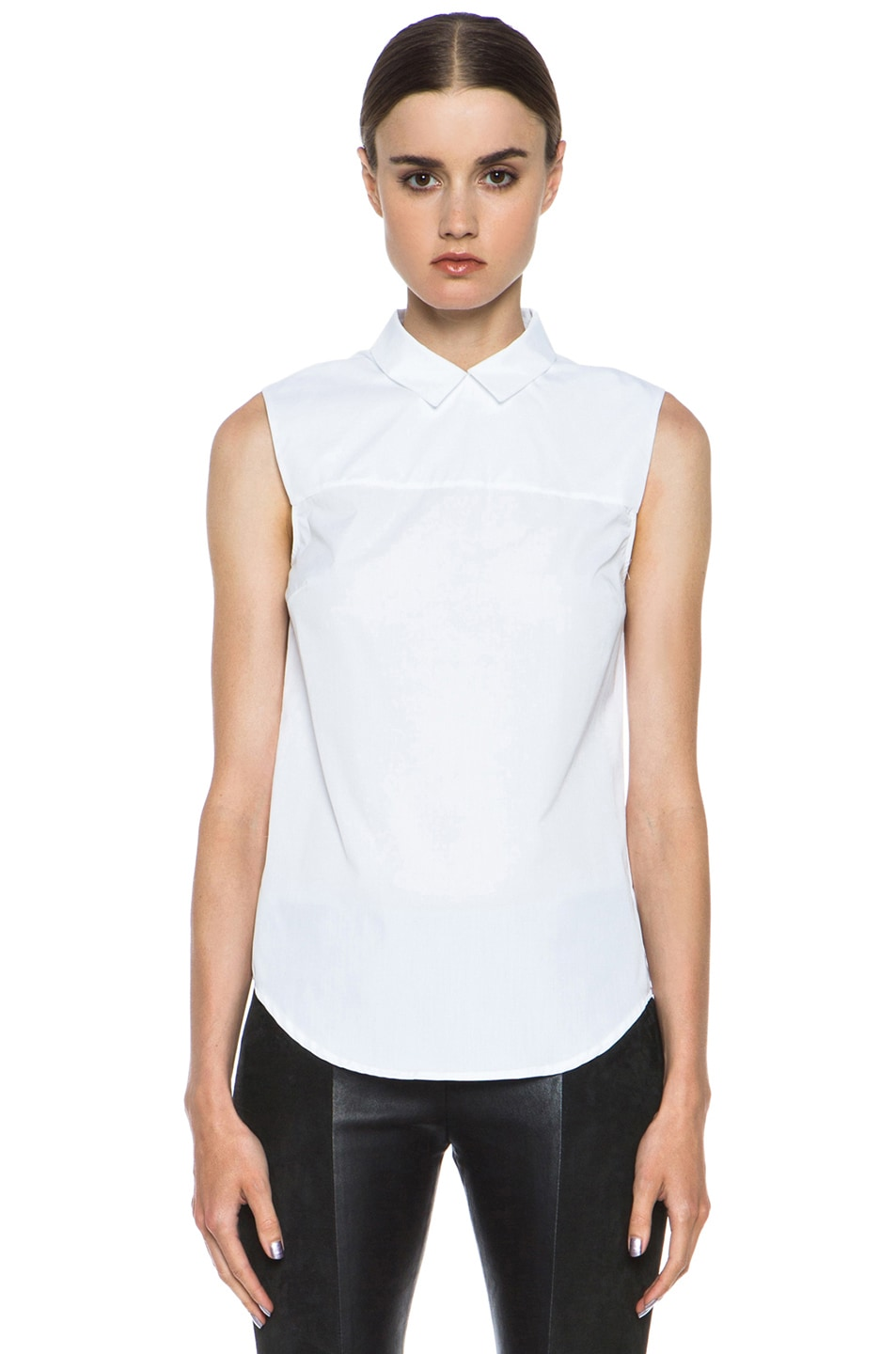 Image 1 of Victoria Beckham Denim Zip Back Cotton Shirt in White Shirting