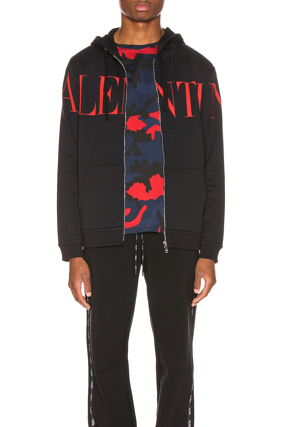 Image 1 of Valentino Logo Hoodie in Black & Red