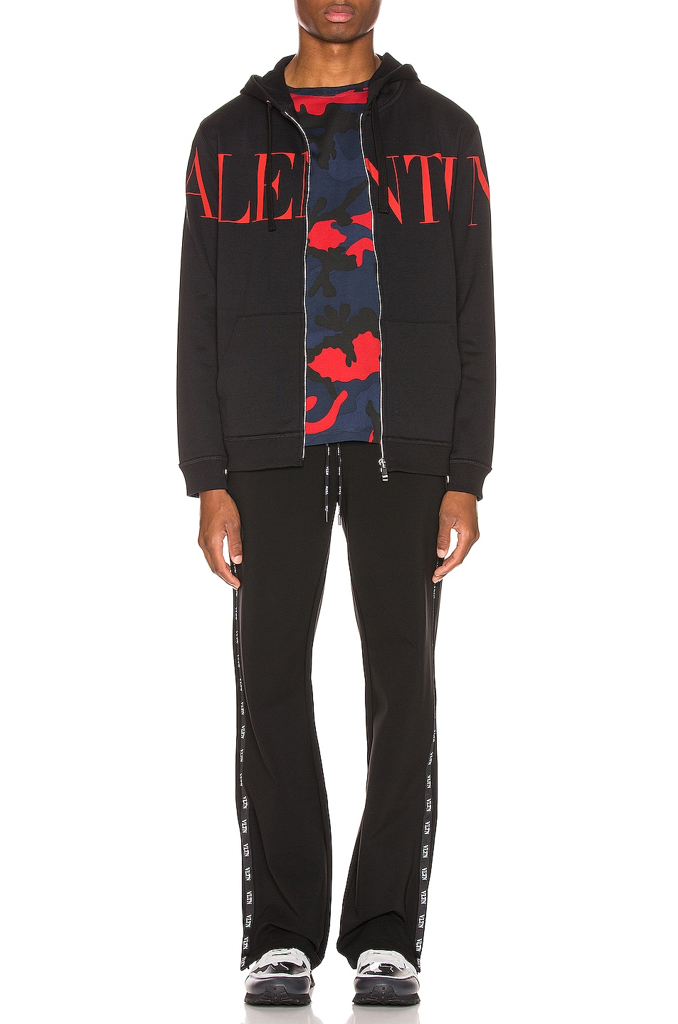 Image 5 of Valentino Logo Hoodie in Black & Red