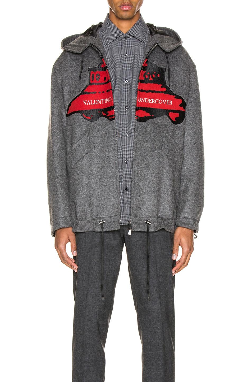 Image 2 of Valentino Time Traveller Hoodie in Medium Grey