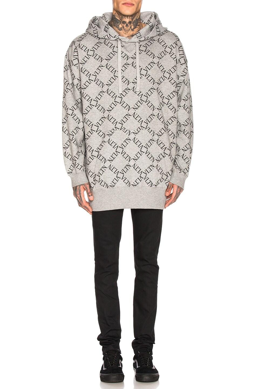 Image 4 of Valentino Hoodie in Grey & Black