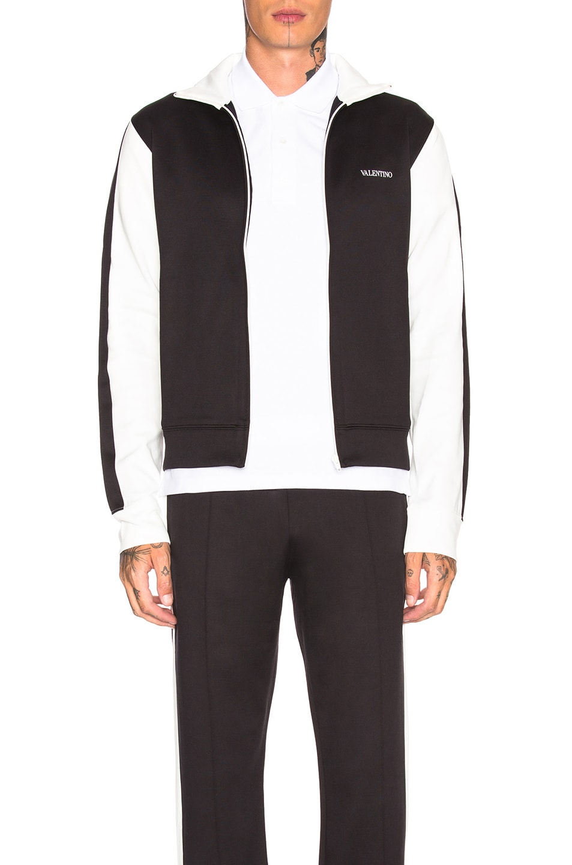Image 2 of Valentino Track Jacket in White & Black