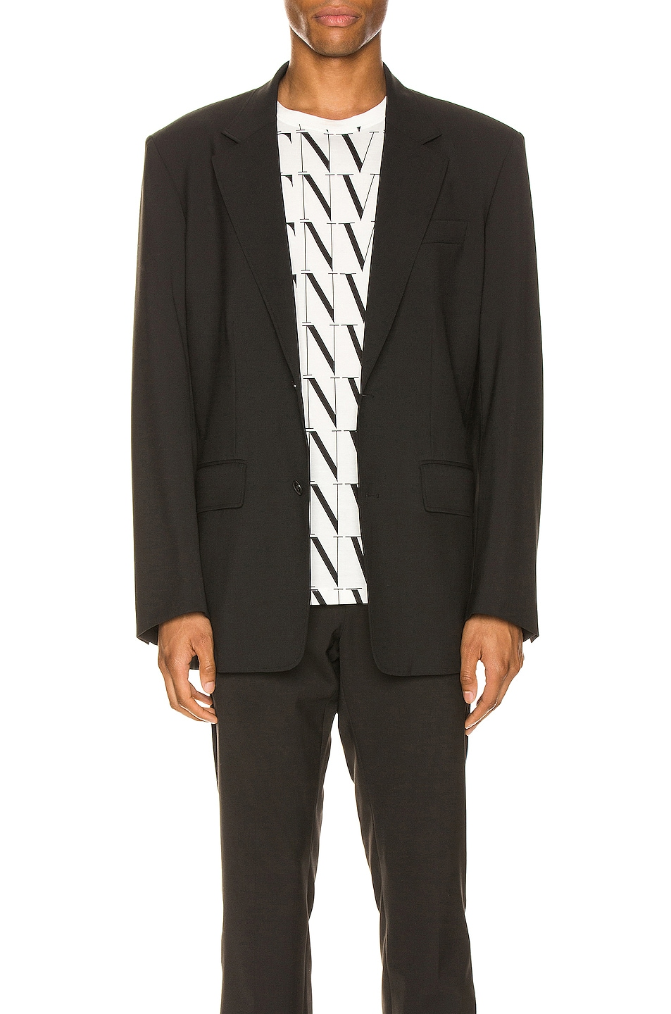 Image 1 of Valentino Deconstructed Suit Jacket in Black
