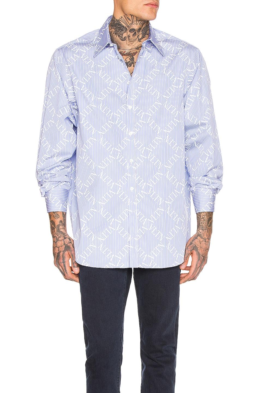 Image 1 of Valentino Long Sleeve Shirt in Celeste & White