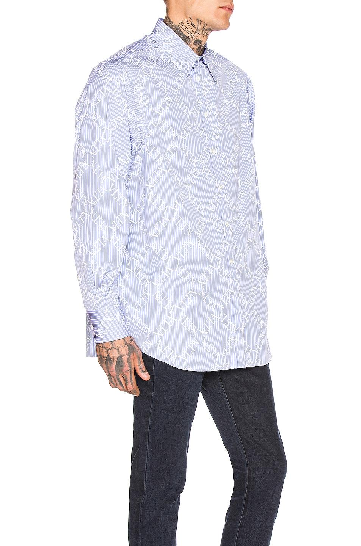 Image 3 of Valentino Long Sleeve Shirt in Celeste & White