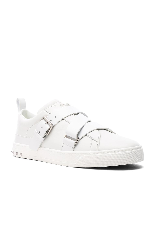 Image 1 of Valentino Garavani Leather Strap Sneakers in White