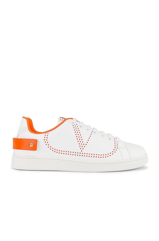 Image 2 of Valentino Low Top Sneaker in White & Orange