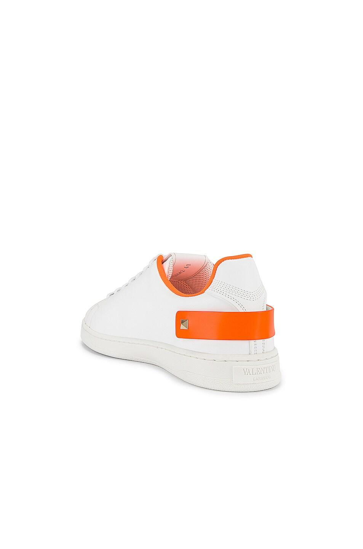 Image 3 of Valentino Low Top Sneaker in White & Orange