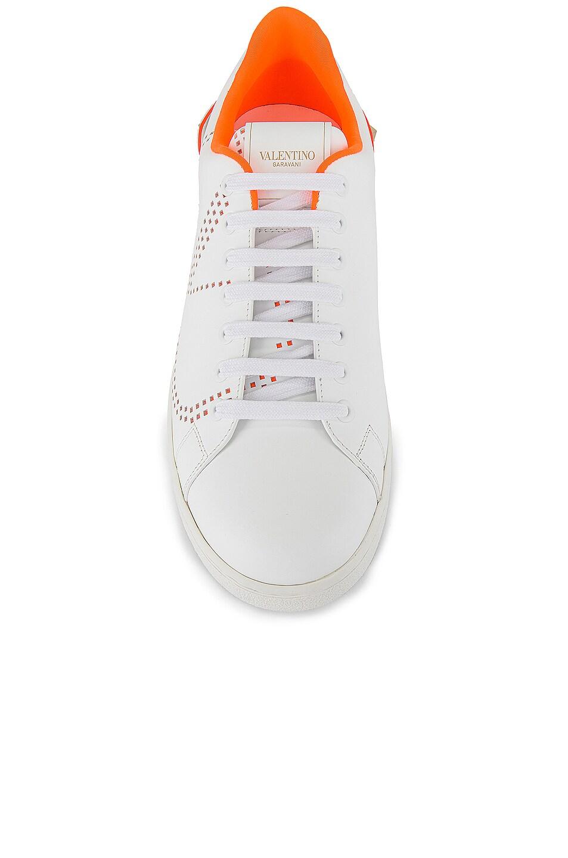 Image 4 of Valentino Low Top Sneaker in White & Orange