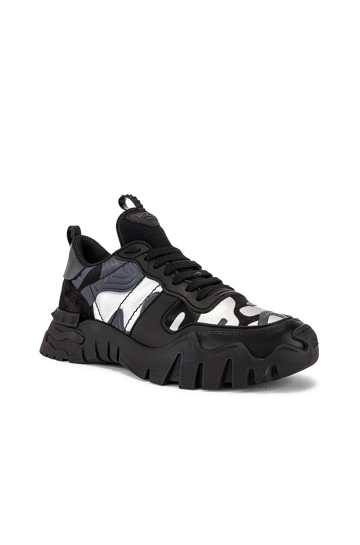 Image 1 of Valentino Rockrunner Plus Sneaker in Black & Silver