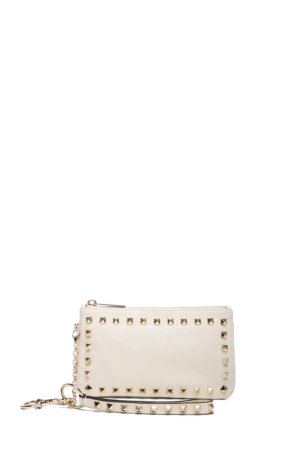 Image 1 of Valentino Rockstud Wrist Clutch in Light Ivory