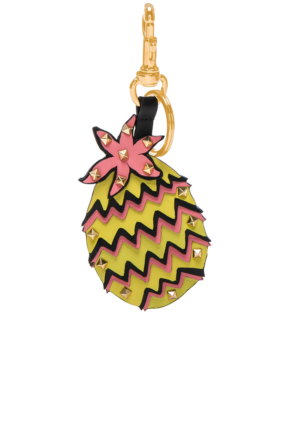 Image 1 of Valentino Pineapple Keychain in Pink & Yellow & Black