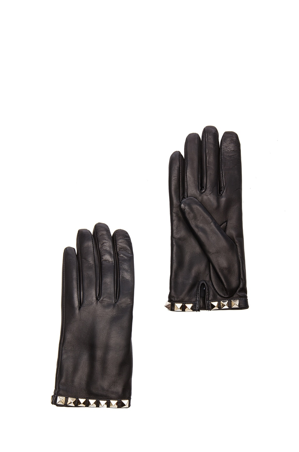 Image 1 of Valentino Rockstud Leather Gloves in Black