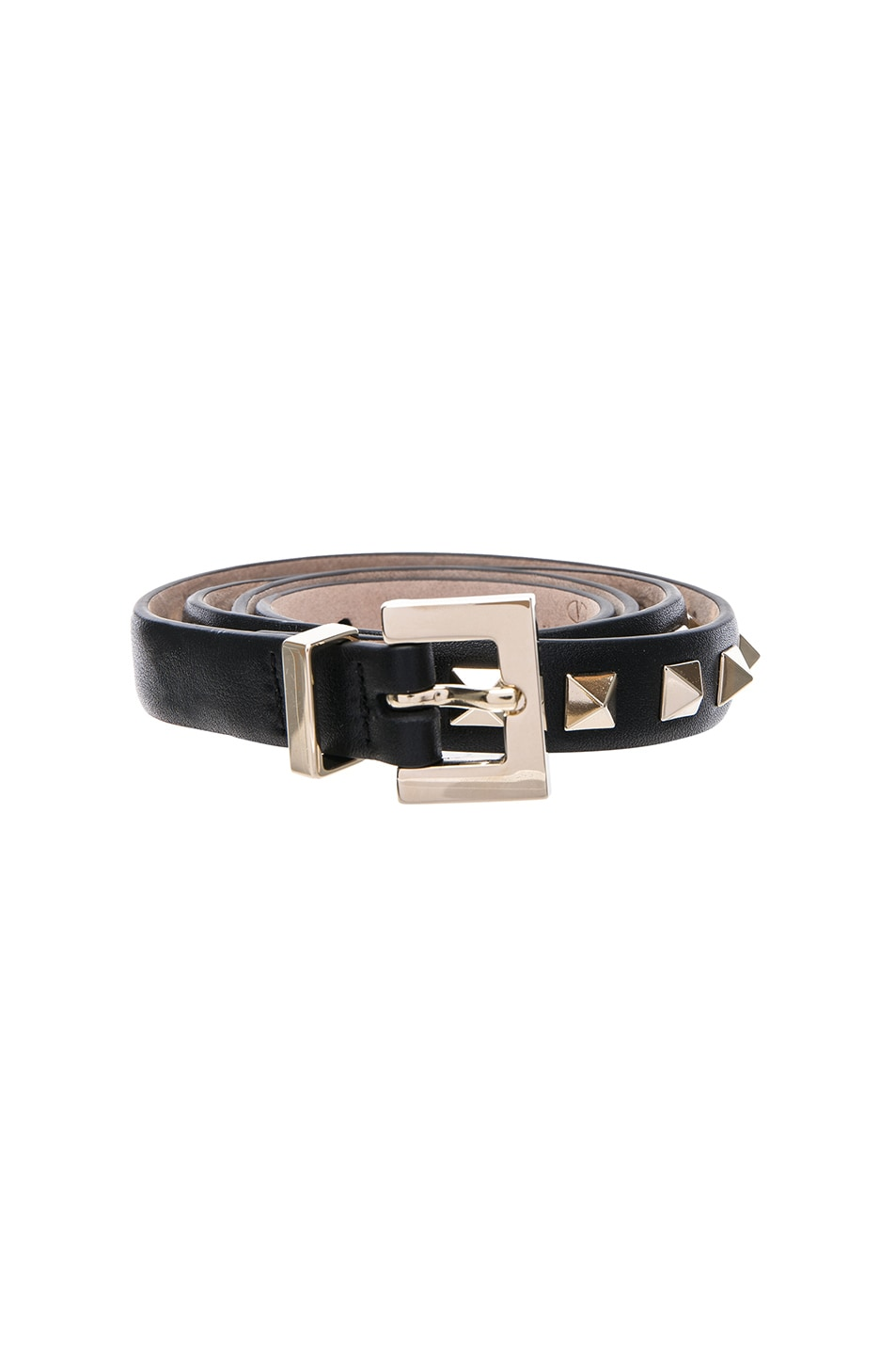 Image 1 of Valentino Rockstud Leather Belt in Black