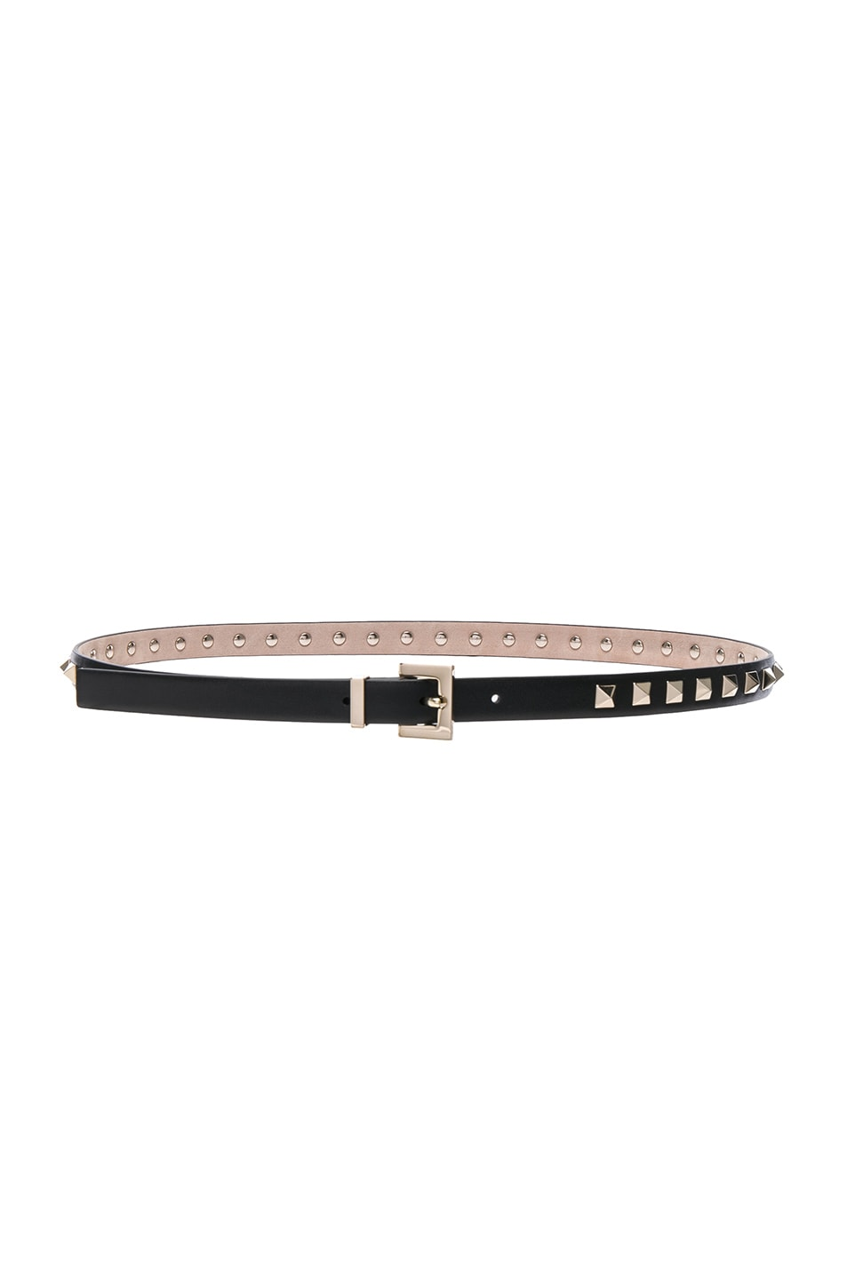 Image 2 of Valentino Rockstud Leather Belt in Black