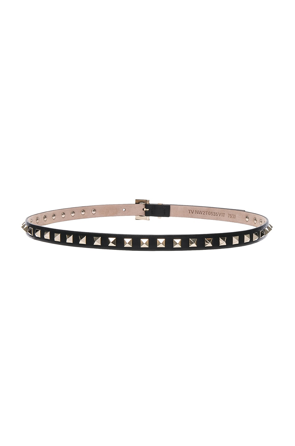 Image 3 of Valentino Rockstud Leather Belt in Black
