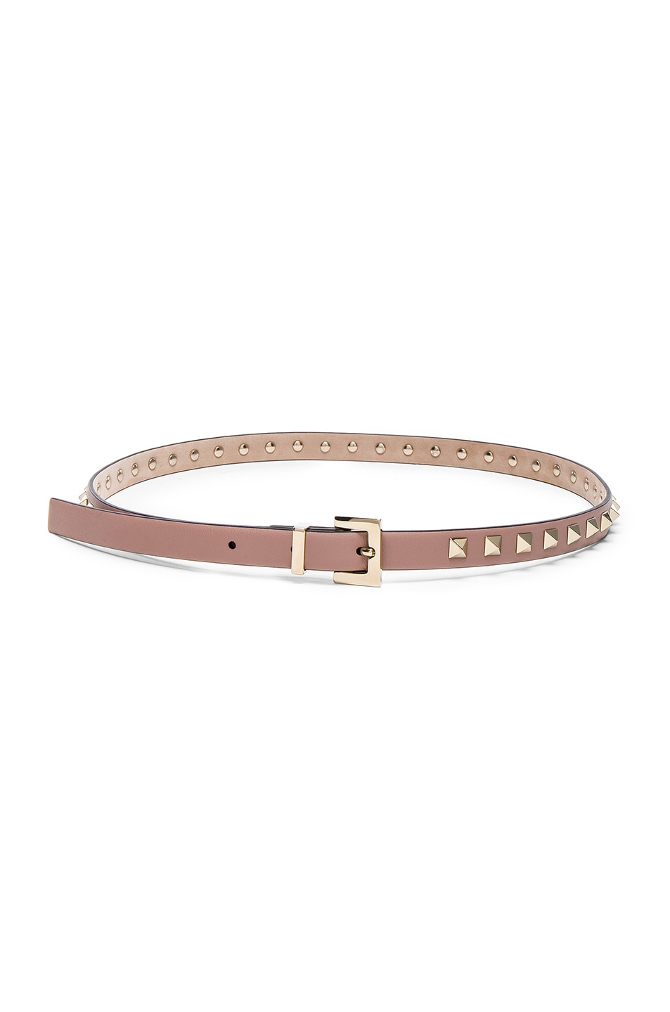 Image 2 of Valentino Rockstud Leather Belt in Poudre