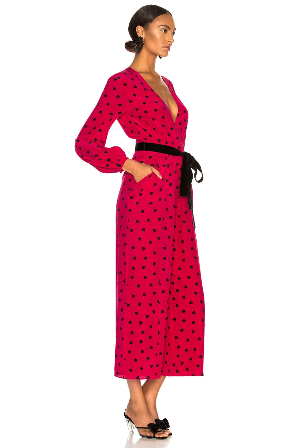 Image 2 of Valentino Crepe de Chine Pretty Hearts Jumpsuit in Disco Pink