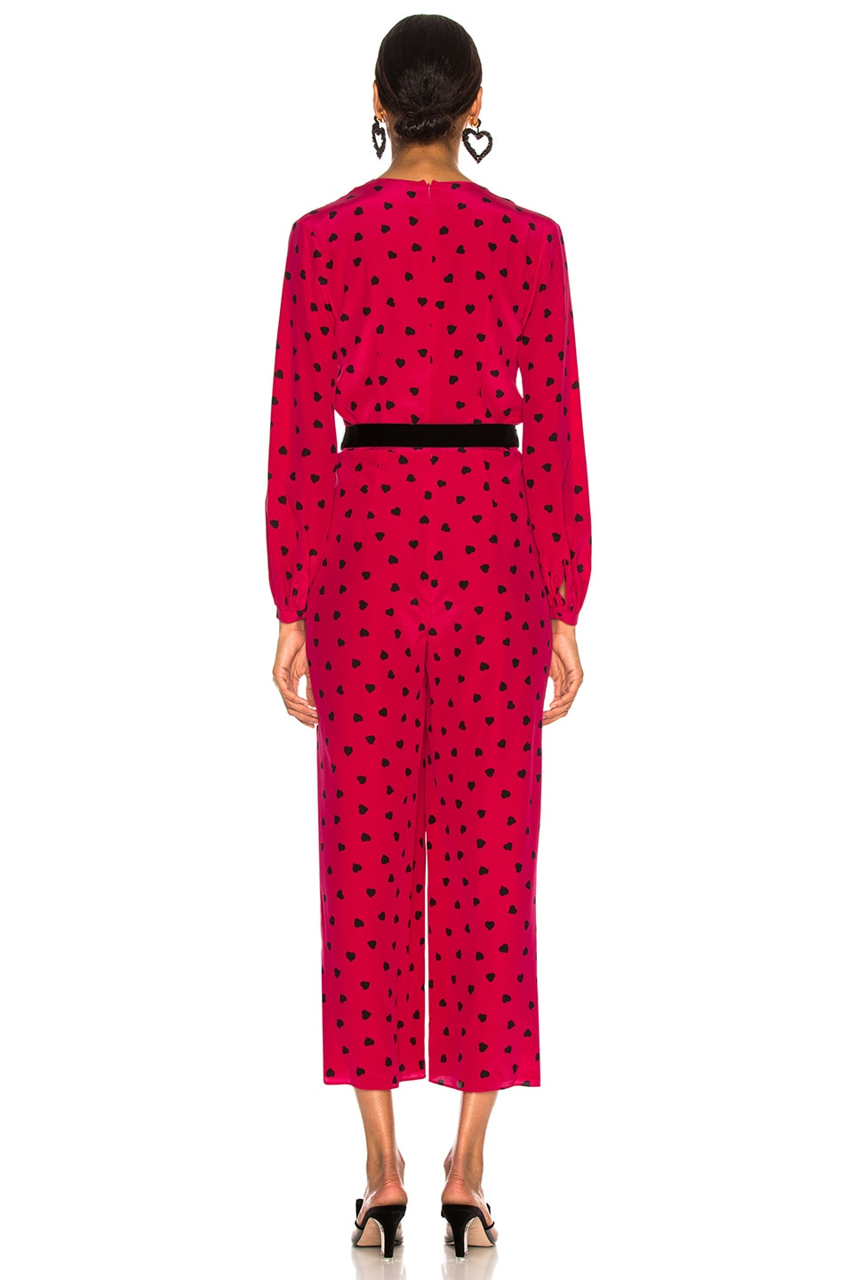 Image 3 of Valentino Crepe de Chine Pretty Hearts Jumpsuit in Disco Pink