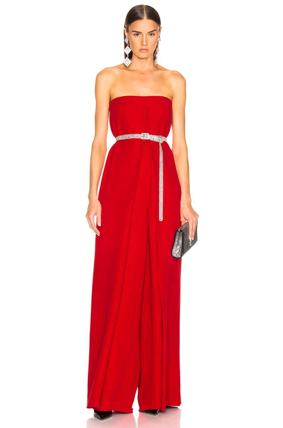 Image 1 of Valentino Cady Couture Strapless Jumpsuit in Red