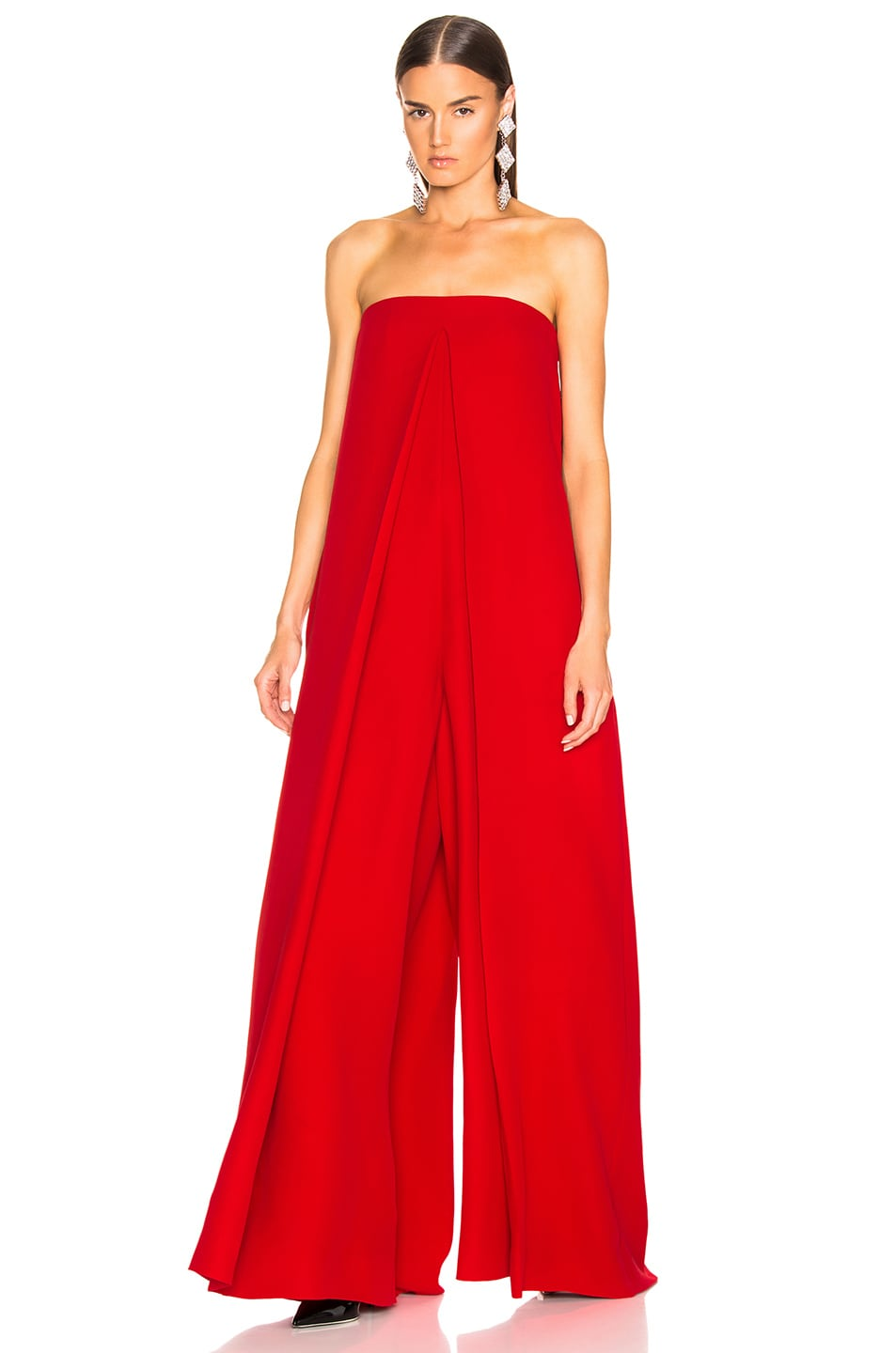 Image 2 of Valentino Cady Couture Strapless Jumpsuit in Red