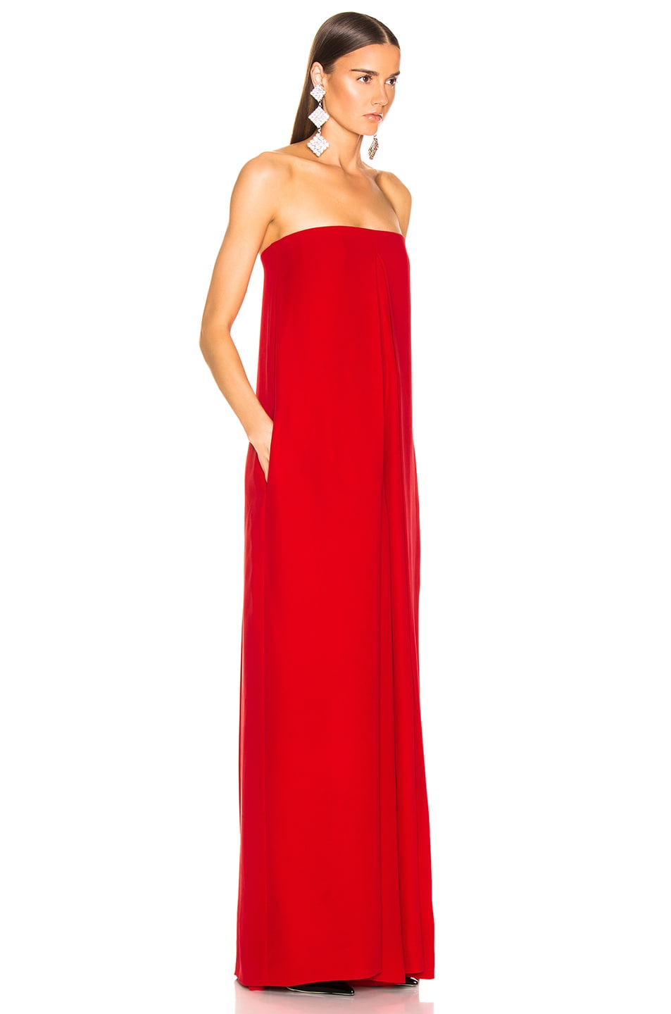 Image 3 of Valentino Cady Couture Strapless Jumpsuit in Red