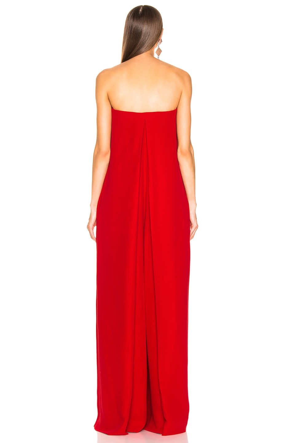 Image 4 of Valentino Cady Couture Strapless Jumpsuit in Red
