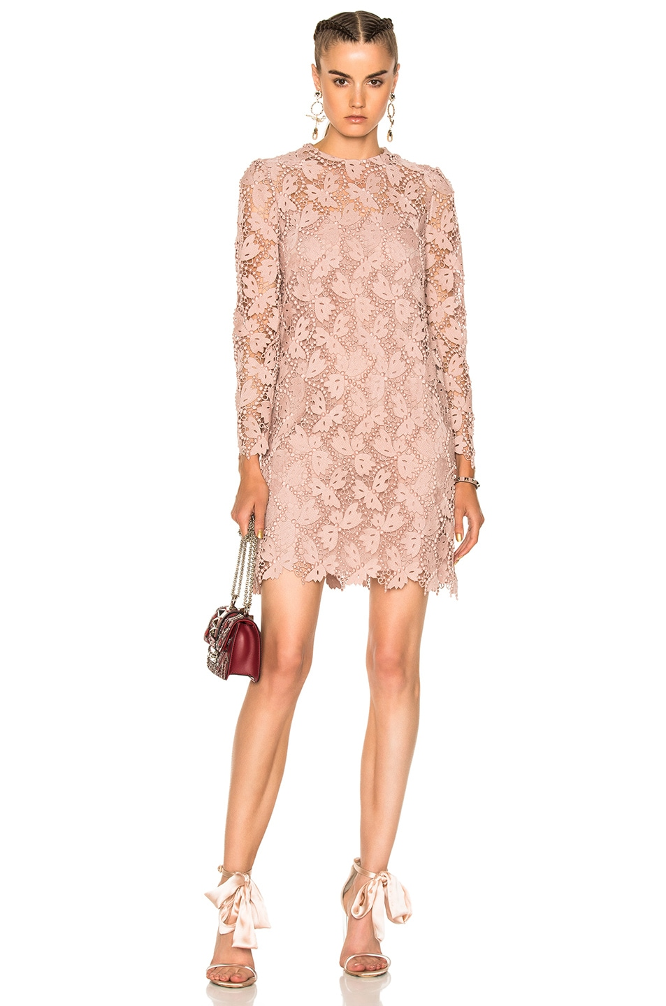 Valentino Embellished Lace Long Sleeve Dress in Pink,Neutrals