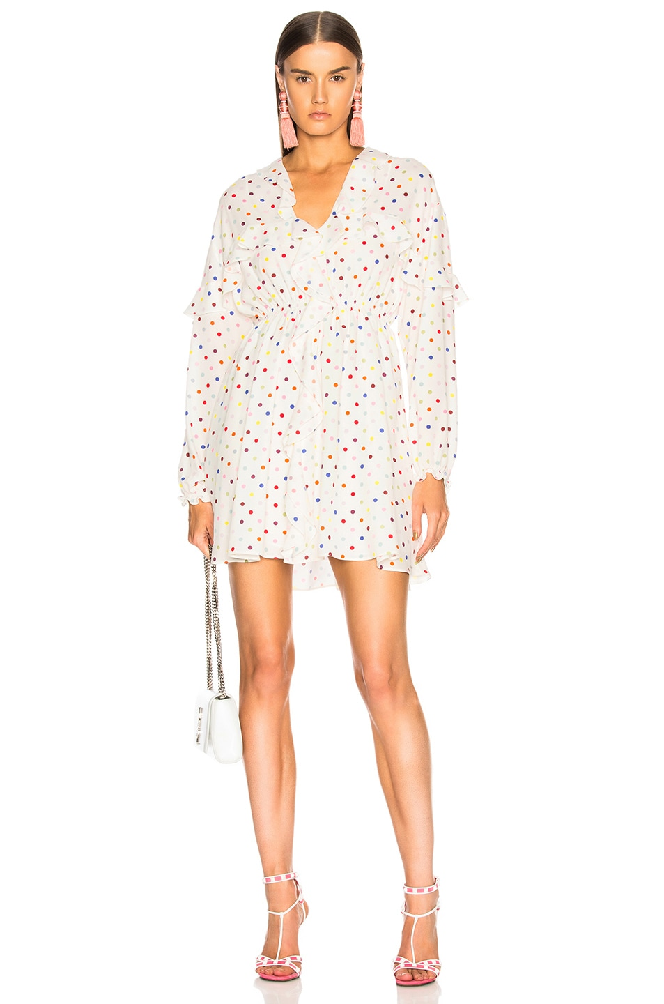 Image 1 of Valentino Polka Dot Ruffle Trim Mini Dress in Ivory & Multicolor
