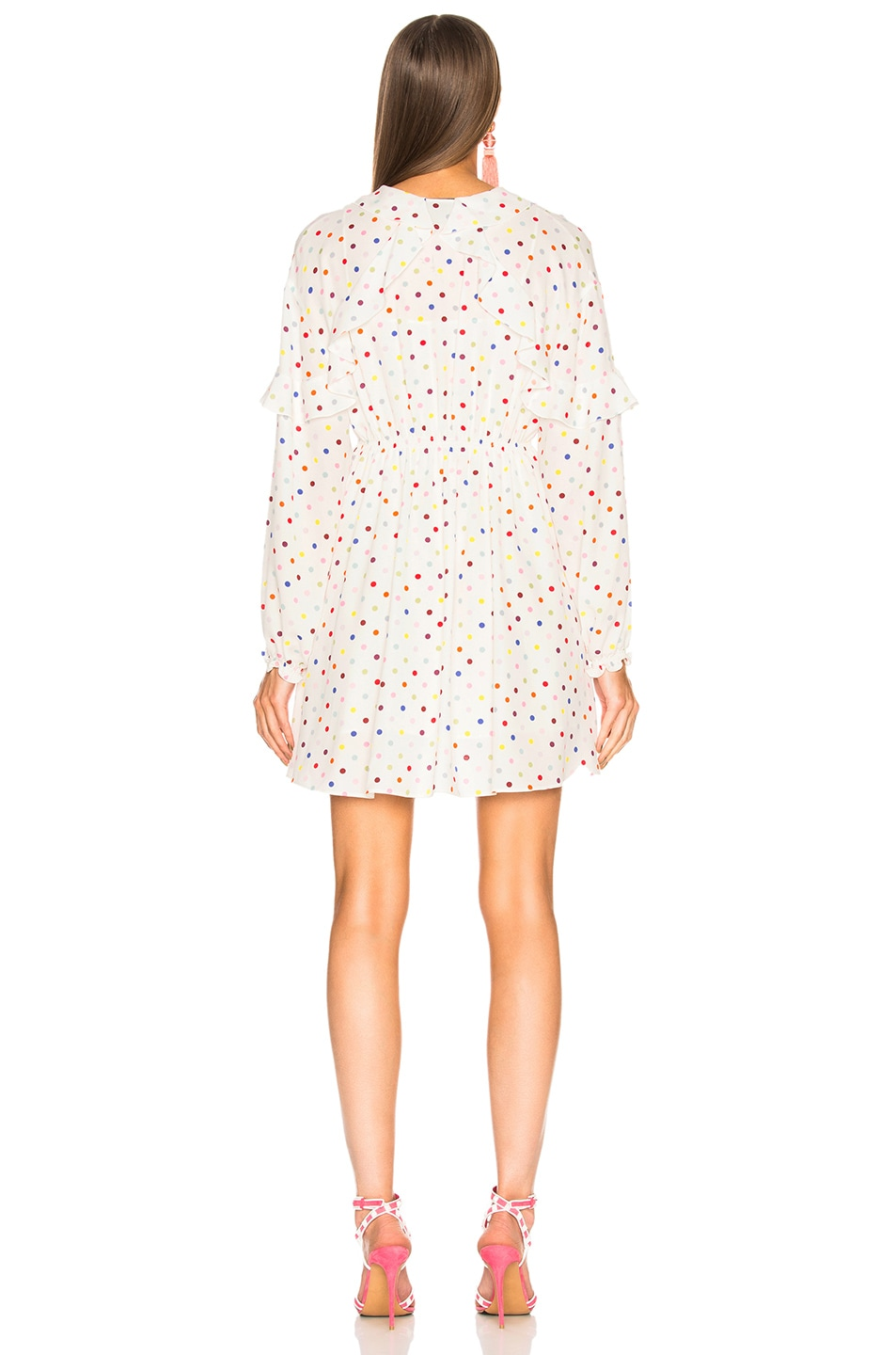 Image 3 of Valentino Polka Dot Ruffle Trim Mini Dress in Ivory & Multicolor