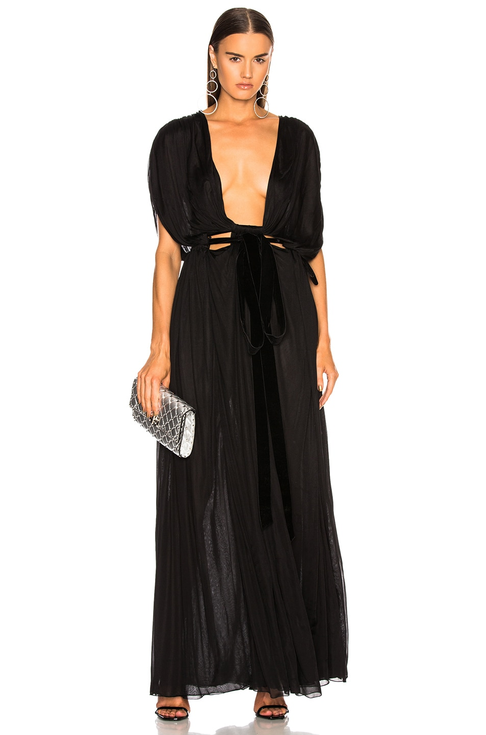 Image 1 of Valentino Plunging Gown in Black