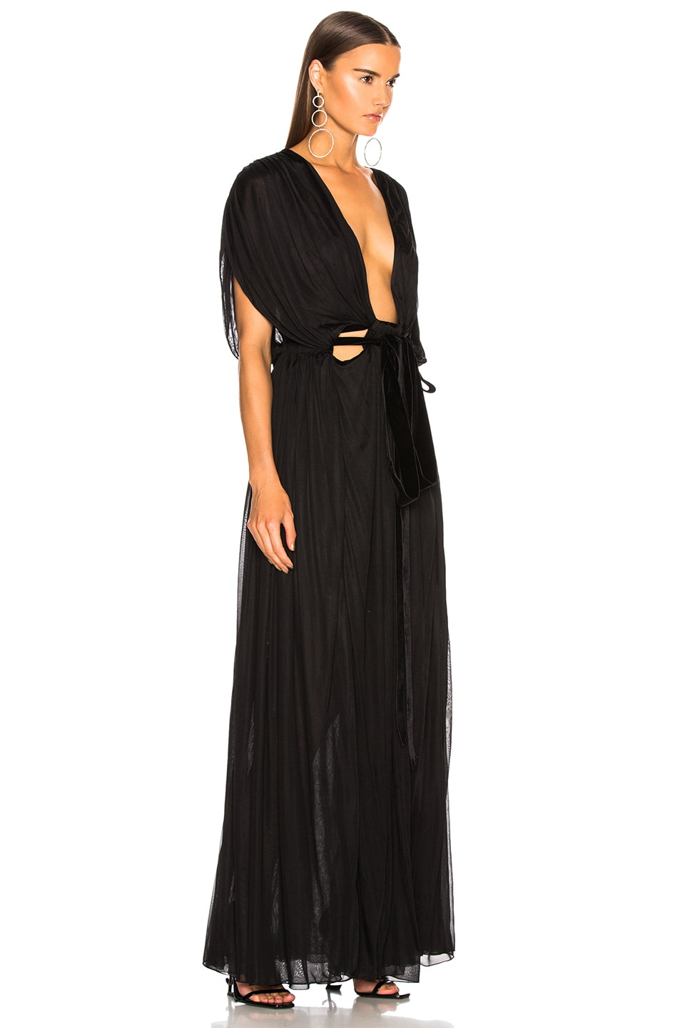 Image 3 of Valentino Plunging Gown in Black