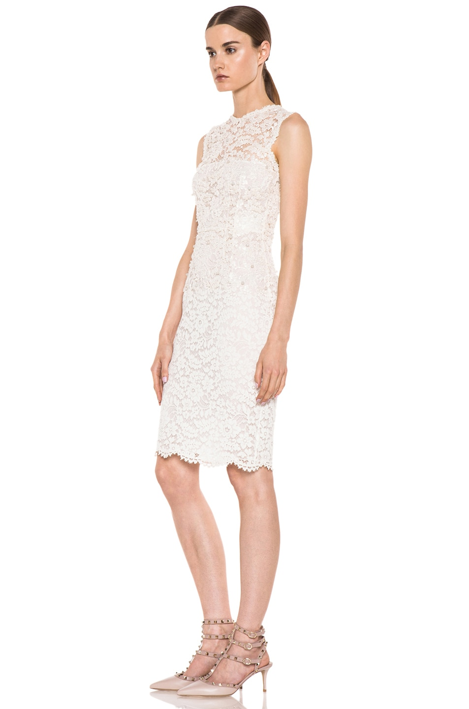 7ea663c59a Valentino Rebrode Lace Sleeveless Embroidered Dress in Ivory | FWRD