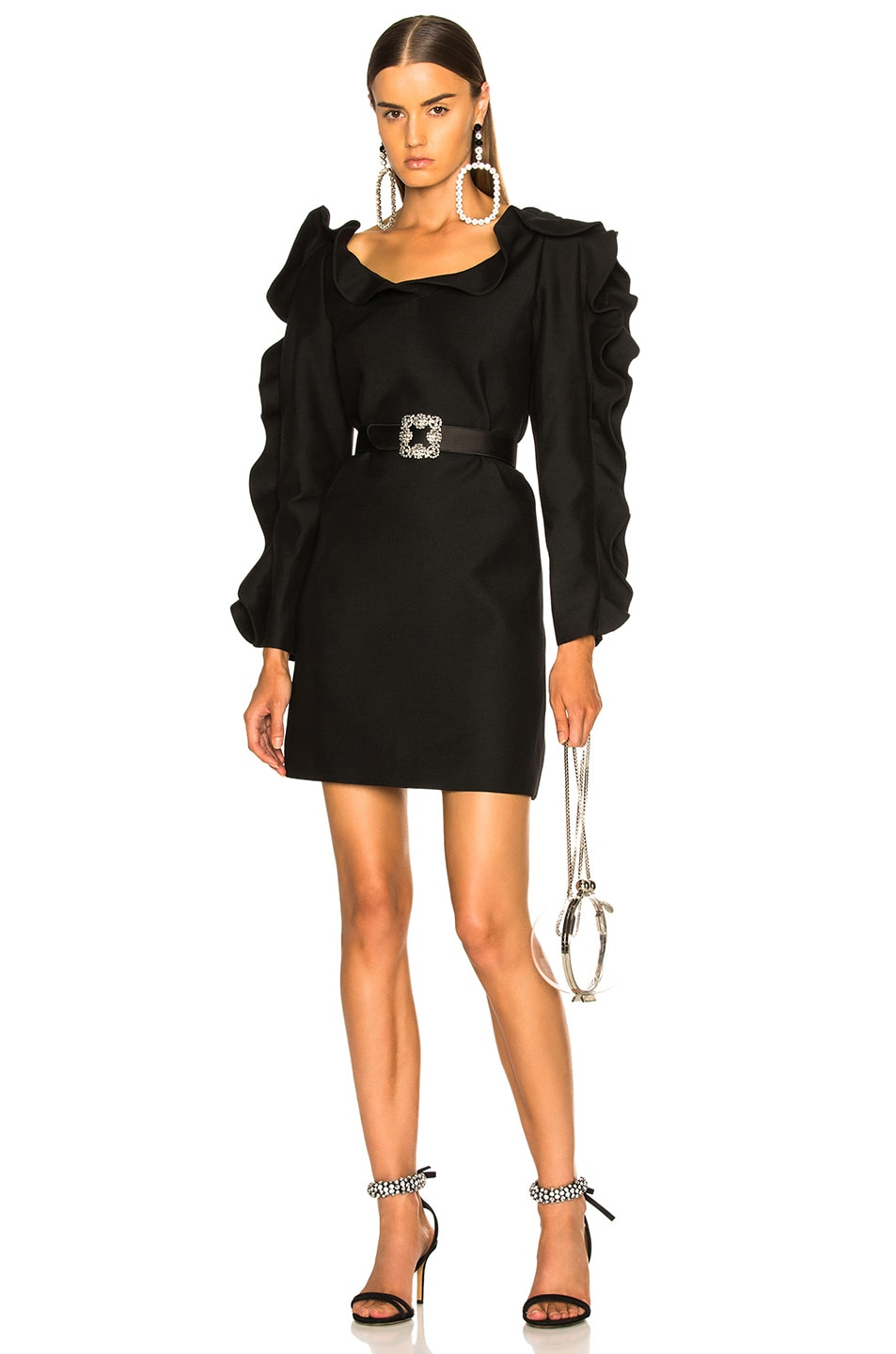 Image 1 of Valentino Ruffle Trim Mini Dress in Black