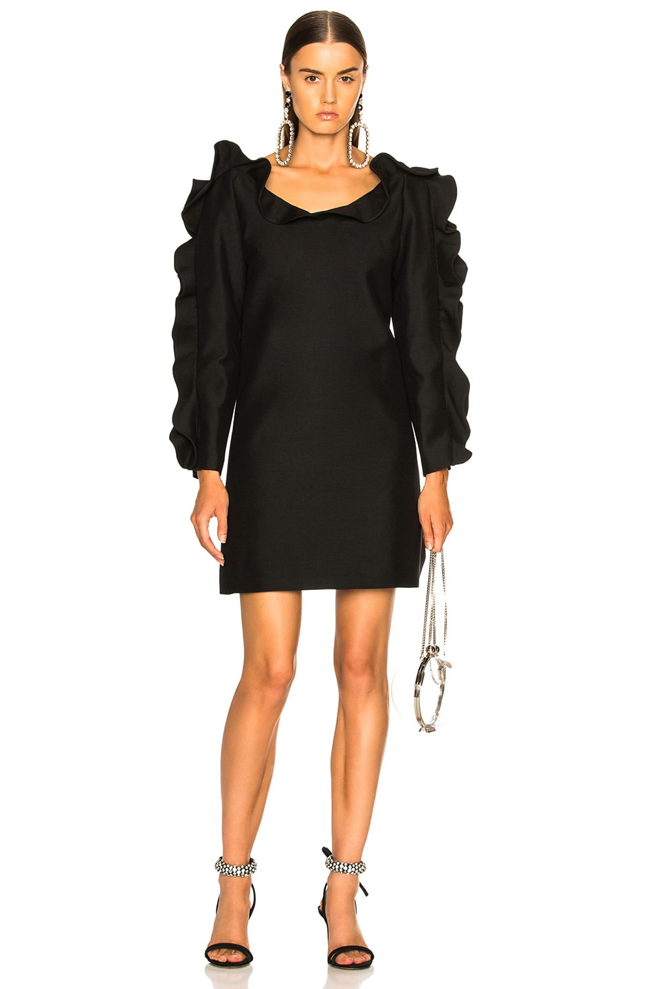 Image 2 of Valentino Ruffle Trim Mini Dress in Black
