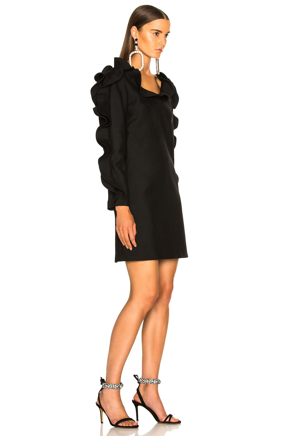 Image 3 of Valentino Ruffle Trim Mini Dress in Black