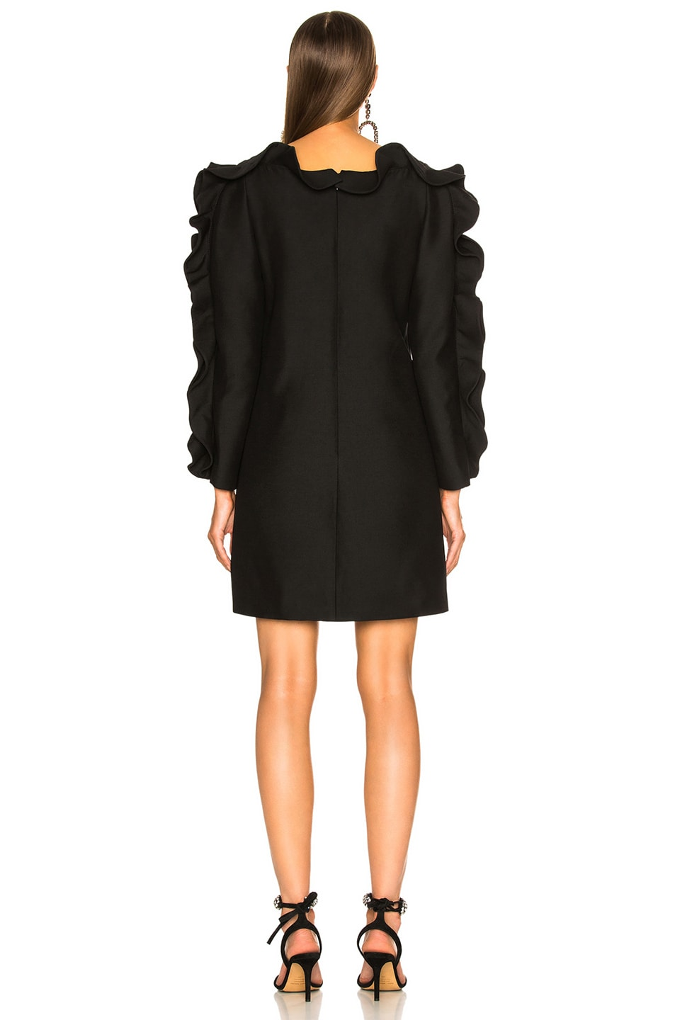 Image 4 of Valentino Ruffle Trim Mini Dress in Black