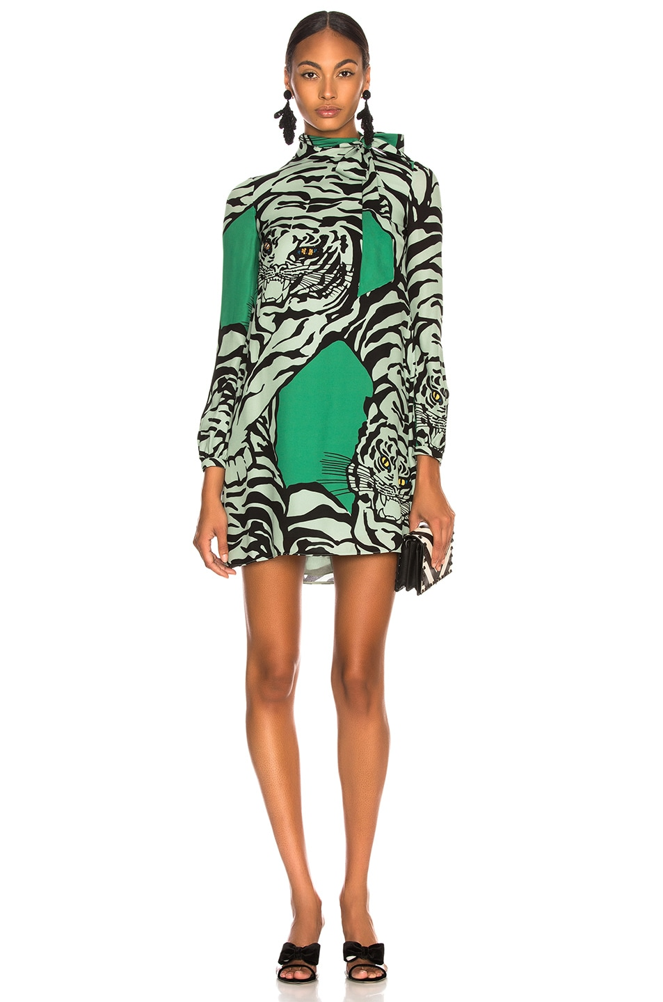 76c4bf780b Image 1 of Valentino Georgette Tiger Print Dress in Green   Powder Green