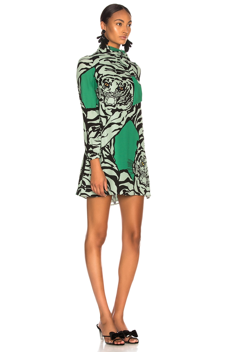 Image 2 of Valentino Georgette Tiger Print Dress in Green & Powder Green